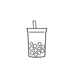 milk bubble tea icon line style vector image