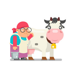 Milkmaid farmer granny adult rancher old age woman vector