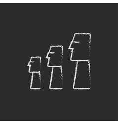 Moai statues on Easter Island icon drawn in chalk vector image
