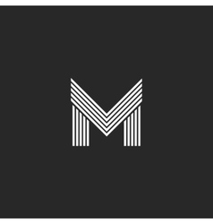 Monogram m letter logo hipster initial emblem vector