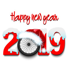 New year numbers 2019 and bicycle wheel vector