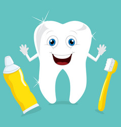 of cartoon tooth vector image