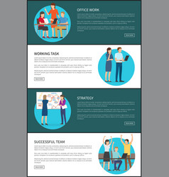 office work and strategy set vector image