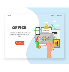 Office workspace website landing page vector