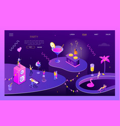 party and celebration - modern isometric vector image