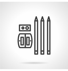 Pencils and sharpener simple line icon vector image