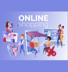 People shopping online cartoon concept vector