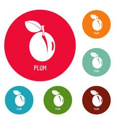 plum icons circle set vector image