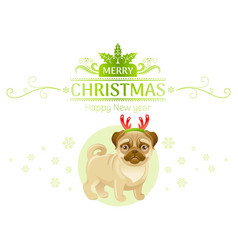 puppy pug dog in reindeer horns merry christmas vector image