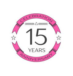 Realistic fifteen years anniversary celebration vector