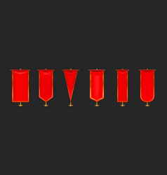 red pennant flags different shapes on gold pillar vector image