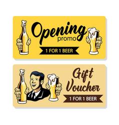 Retro beer gift voucher vector