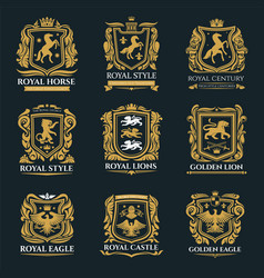 royal heraldry emblems heraldic lion and horse vector image