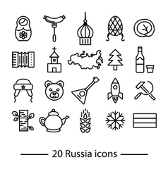 Russia line icons vector