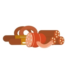 Sausage and frankfurters still life isolated on vector