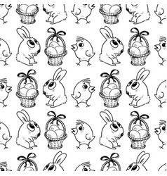 seamless background of the easter symbols vector image