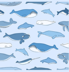 seamless pattern with aquatic animals or marine vector image