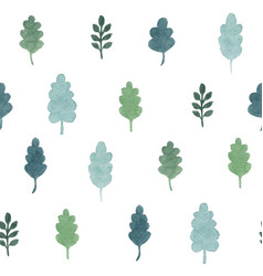 Seamless pattern with watercolor hand draw leaves vector