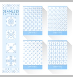Set of simple line seamless patterns 2 vector
