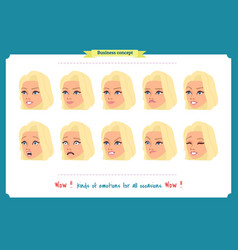 Set of woman expression isolatedbusinesswoman vector