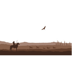 silhouette desert with indian on horse vector image