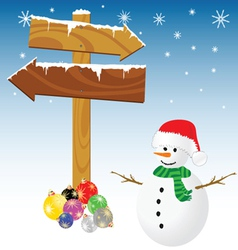 snowman and winter color vector image