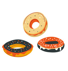 sweet donuts with glazing and sprinkles on top vector image