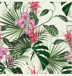 tropical orchid protea flowers seamless pattern vector image