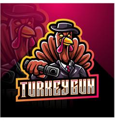 Turkey gunner esport mascot logo vector