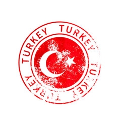 turkey sign vintage grunge imprint with flag on vector image