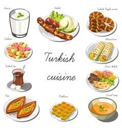 Turkish asia cuisine set Collection of food vector image