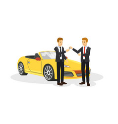 Two businessman are negotiation about car sell vector