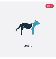 Two color coyote icon from animals concept vector
