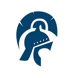 Warrior helmet logo design knight mask icon vector