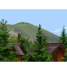 wooden houses in the firs mountains vector image
