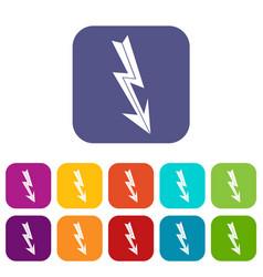 arrow lightning icons set vector image