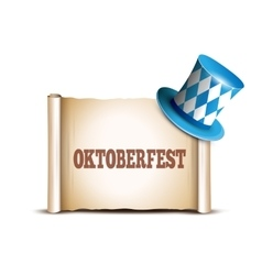 Oktoberfest celebration design with Bavarian hat vector image