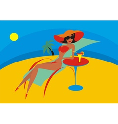 beach chaise lounge vector image vector image