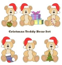 Christmas Teddy bear set vector image vector image