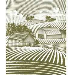 farm scene landscape vector image vector image