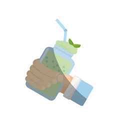hand holding smoothie mint fresh drink vector image