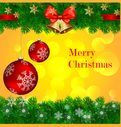 merry christmas decoration from pine bell vector image