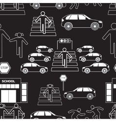 Safety of children in traffic pattern vector image vector image