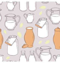 Seamless pattern with milk objects vector image vector image