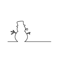 snowman with pipe black line vector image vector image