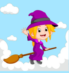 witch riding on a broom vector image