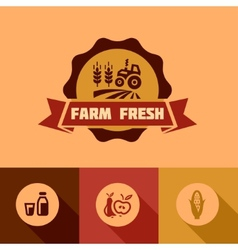 flat farm fresh design elements vector image