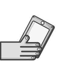 grayscale hand with smartphone technology object vector image