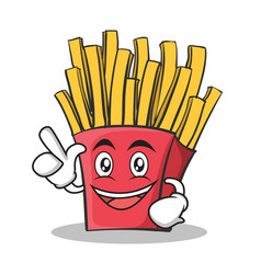 have an idea french fries cartoon character vector image vector image