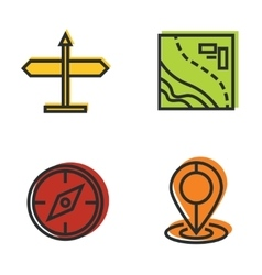 Road tourist line icons with color background vector image vector image